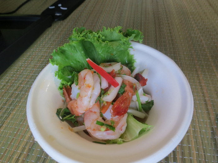 Khao San Road: Spicy Shrimp Salad with shrimp, onion, chilli, garlic and fish sauce