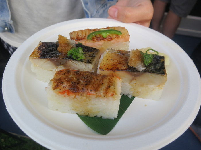 JaBistro's Oshizushi: blowtorched and pressed sushi with shrimp, mackerel and salmon.