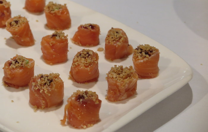 Smoked Salmon with wasabi creme fraiche & peach jam from George