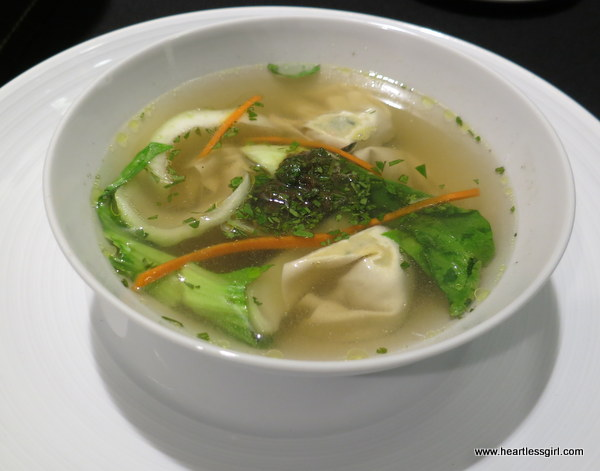 Tofu and Vegetable Steamed Wonton Soup: Served with a lemongrass and tamarind gremolata and tamarind and soy miso