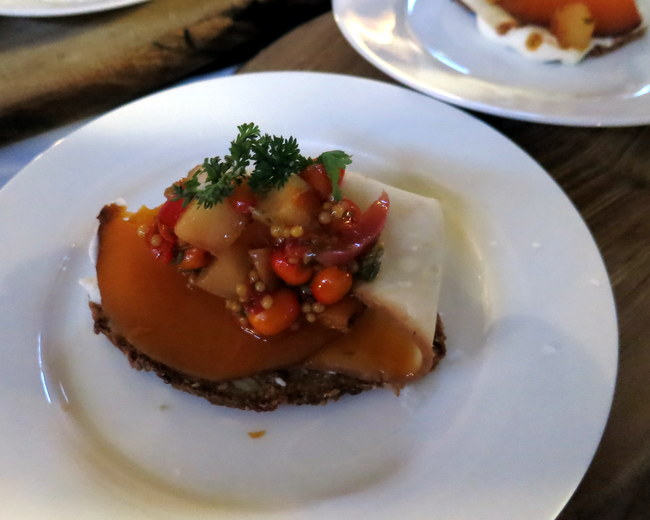 Smoked and shaved celeriac and squash with  pickled radish and seabuckthorn mustada on sprouted rye and spelt crostino from  Pizzeria Libretto