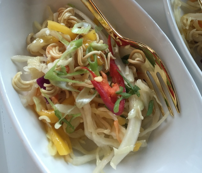 Crunchy Ramen Noodle Slaw with avocado, mango, sriracha shrimp