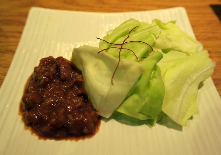Nikumiso Kyabetsu. Cabbage salad with housemade chicken miso dip. Very tasty!