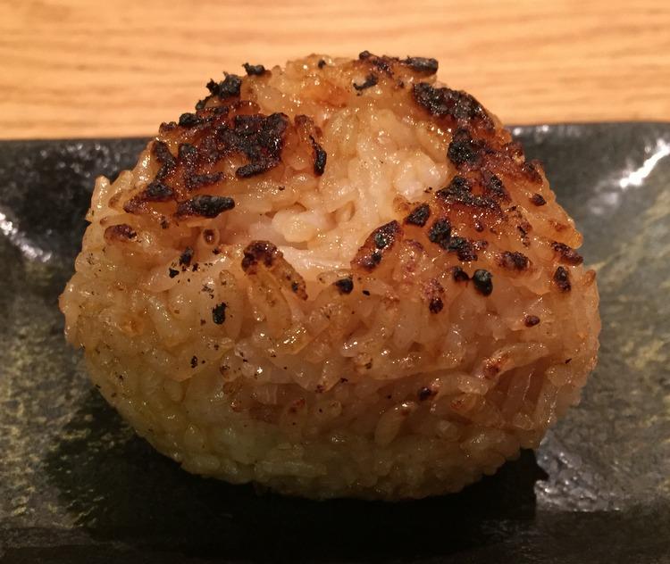 Yaki Onigiri (grilled rice ball with plum filling & teriyaki sauce)