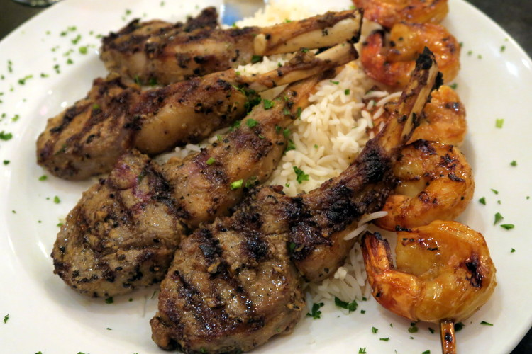 Whole Rack of Lamb with BBQ Jumbo Shrimp Skewer