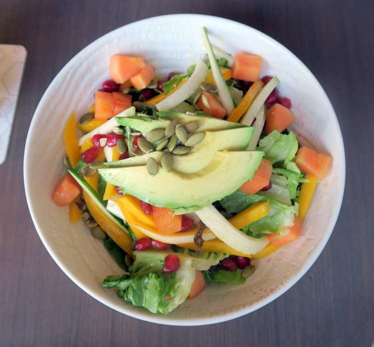 pomegranate seeds, avocado, jicama, zucchini, artisan greens, grilled clementine dressing