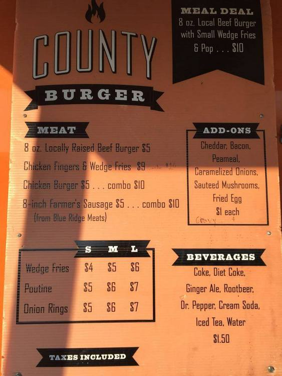 County Burger Menu