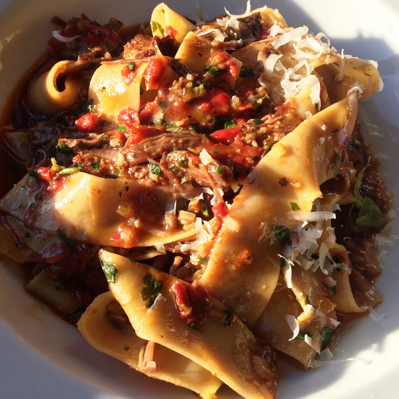 Pappardelle with braised shortrib, tomato and basil